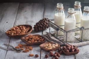 mleko wegańskie w butelkach, orzechy