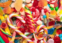 słodycze kolorowe, różne rodzaje