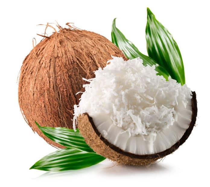 orzech kokosa, wiórki, liście