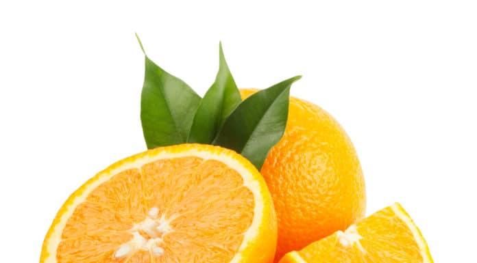 pomarańcz, cały, przekrojony, liść