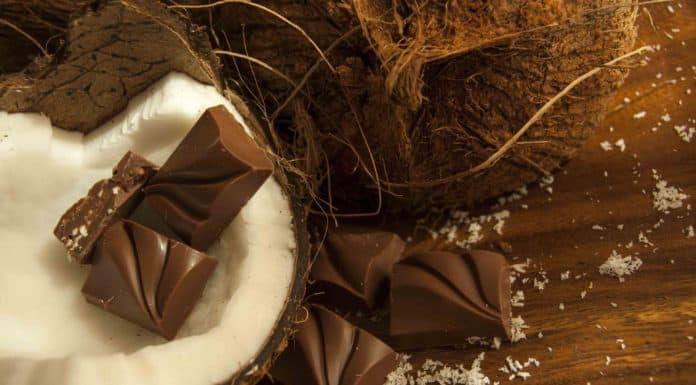 orzech kokosowy, kostki czekolady